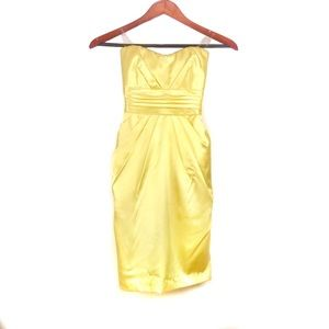 Teeze Me strapless Tie Back Yellow Party Dress
